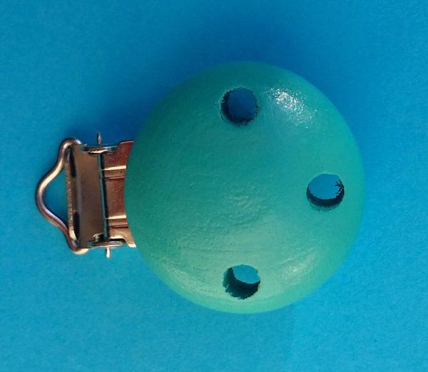 Speenclip hout turquoise blauw met gaatjes