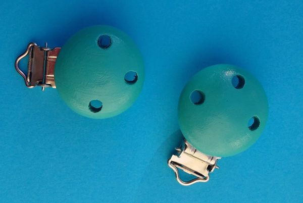 Babyclips hout turquoise blauw