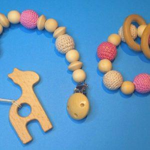 Handgemaakt baby speelgoed houten bijtring houten speenkoord