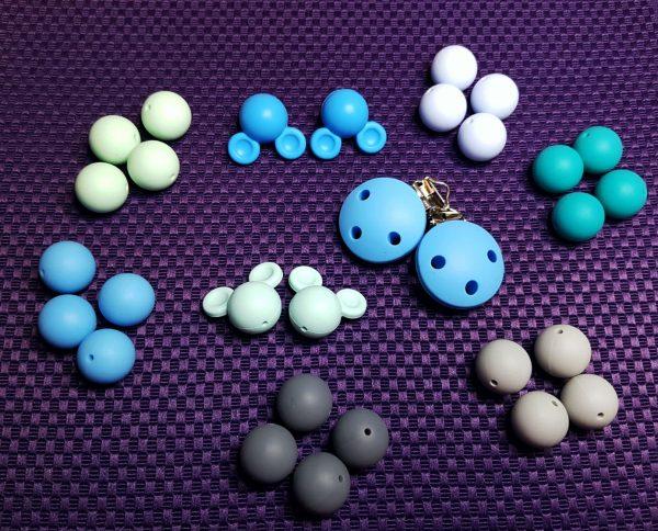 Siliconen kraal turquoise blauw grijs assortiment bijtspeelgoed bijtring