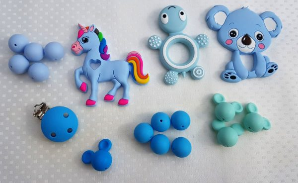 Siliconen bijtring kralen blauw Mickey