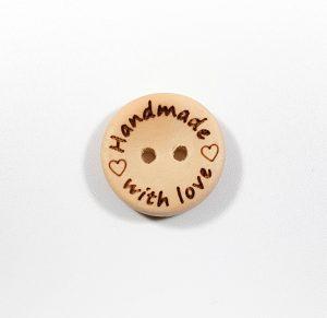 Houten knoopje handmade with love 15 mm