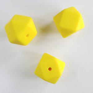 Siliconen kralen hexagon geel maïs