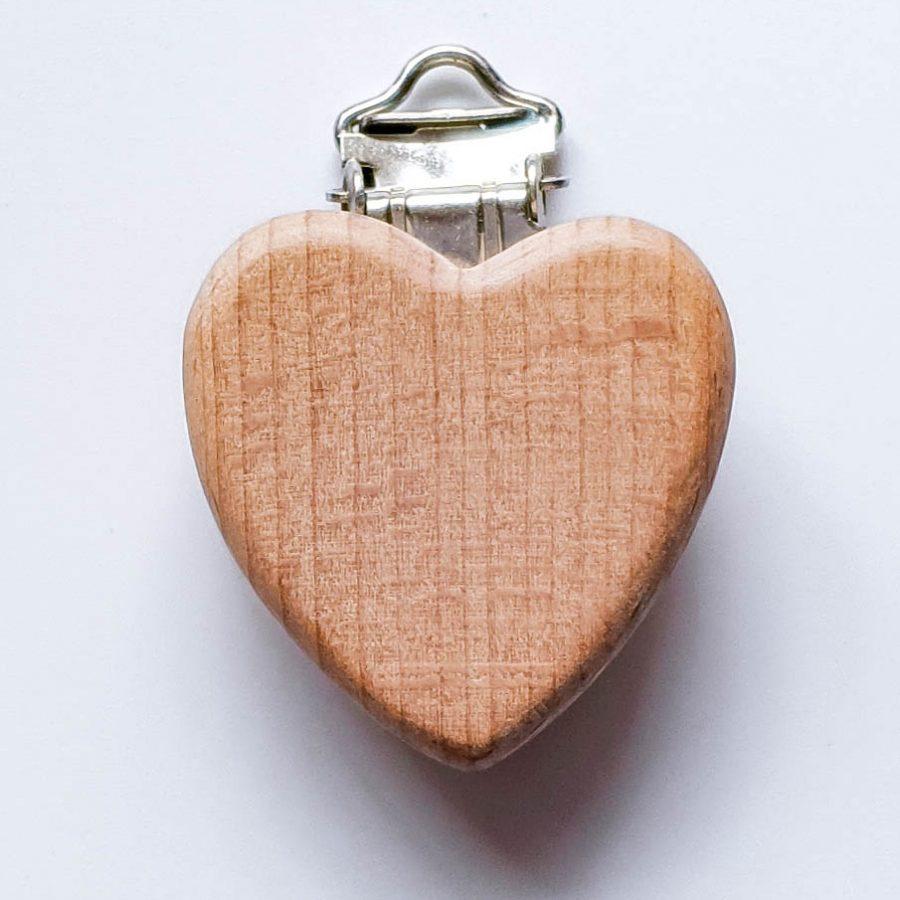 Houten speenclips hart