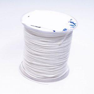Satijnkoord wit 1 mm op klos
