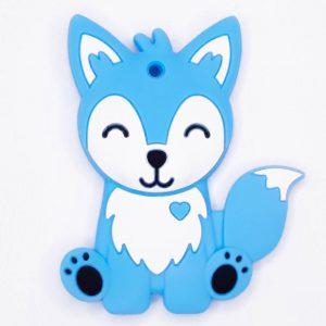 Siliconen bijtring vos blauw