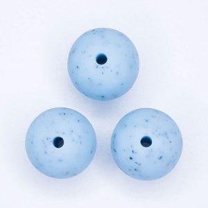 Siliconen kralen met spikkels 16 mm rond blauw