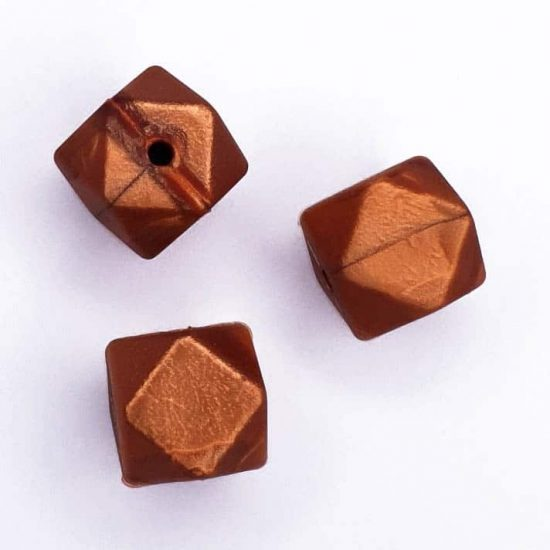 Siliconen kralen hexagon geometrisch koper