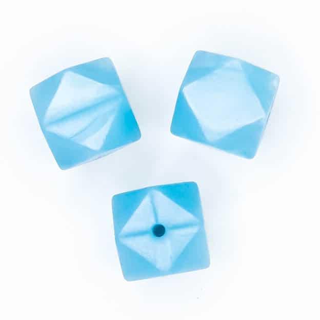 Siliconen kralen hexagon geometrisch ijs blauw