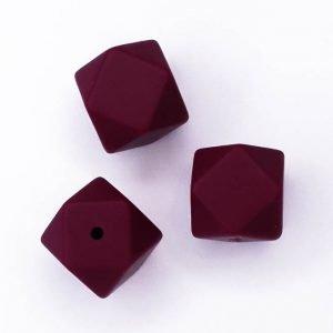 Siliconen kralen Berry Rood Hexagon