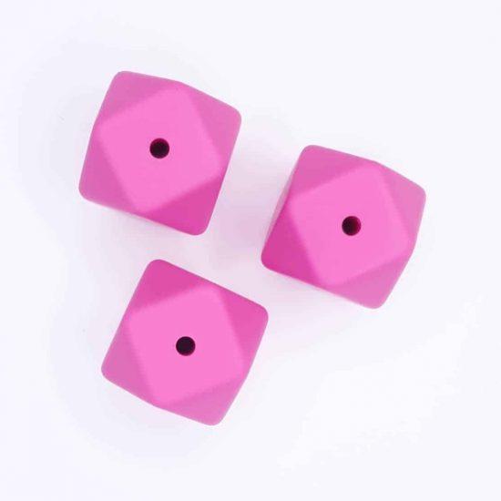 Siliconen kralen hexagon 17 mm roze