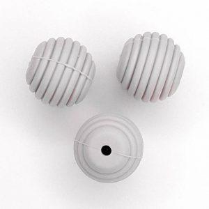 Siliconen kralen honingraat 16 mm licht grijs