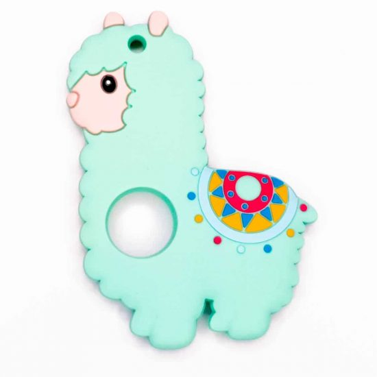 Siliconen bijtring lama alpaca mint groen