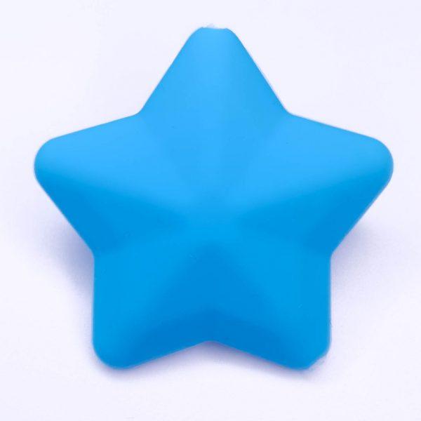 siliconen kralen ster 38 mm blauw