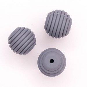 Siliconen kralen honingraat 16 mm donker grijs