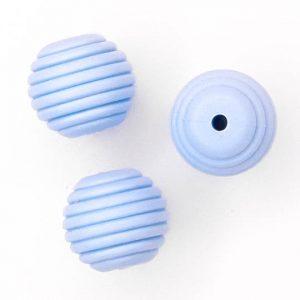 Siliconen kralen honingraat 16 mm licht blauw