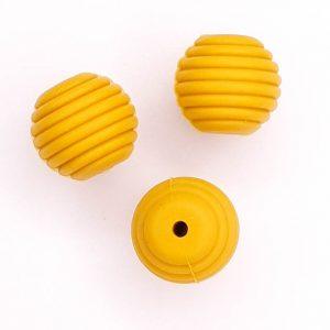 Siliconen kralen honingraat 16 mm oker mosterd geel