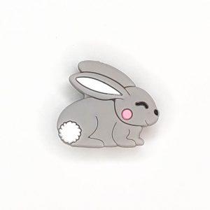 Siliconen kralen konijn grijs