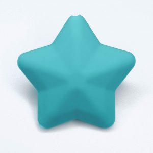 Siliconen kralen ster 38 mm zee blauw
