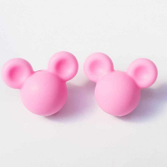Siliconen kralen Mickey 16 mm Baby Roze