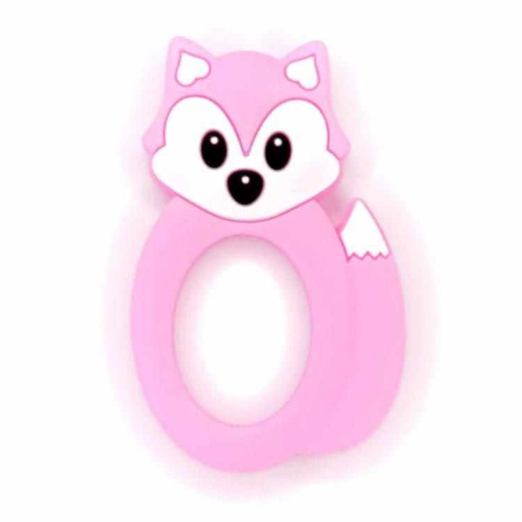 Siliconen bijtring vos roze