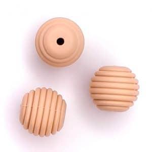 Siliconen kralen honingraat 16 mm nude