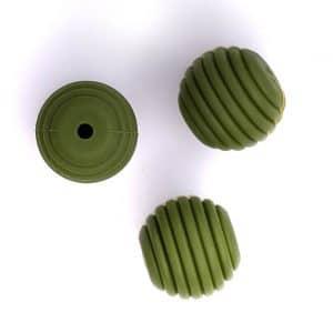 Siliconen kralen honingraat 16 mm mos groen