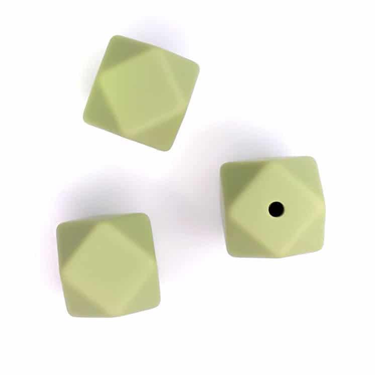 Siliconen kralen hexagon 14 mm pistache