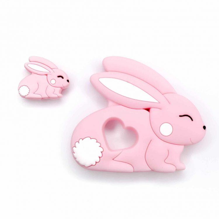 Siliconen bijtring konijn roze met kraal