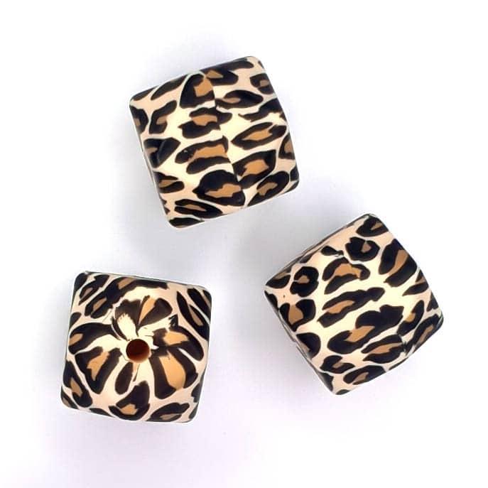 Siliconen kralen luipaard hexagon 17 mm
