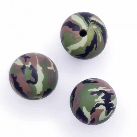 Camouflage print siliconen kralen 12 mm