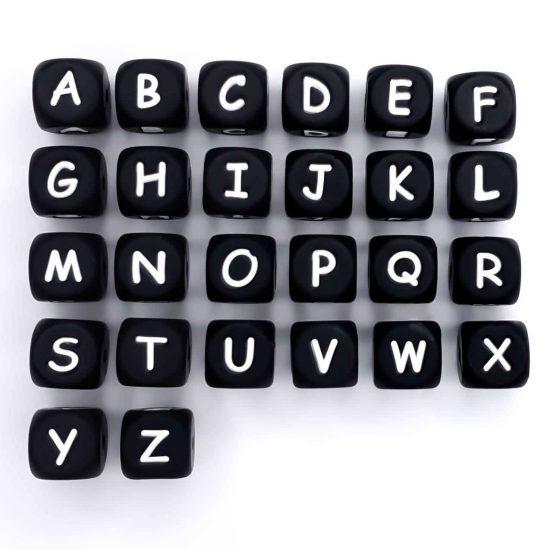 Zwarte siliconen letterkralen overzicht