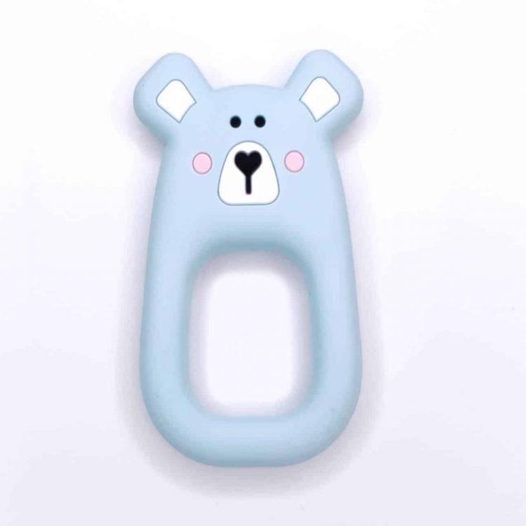Bijtring beer groot siliconen bpa vrij licht blauw
