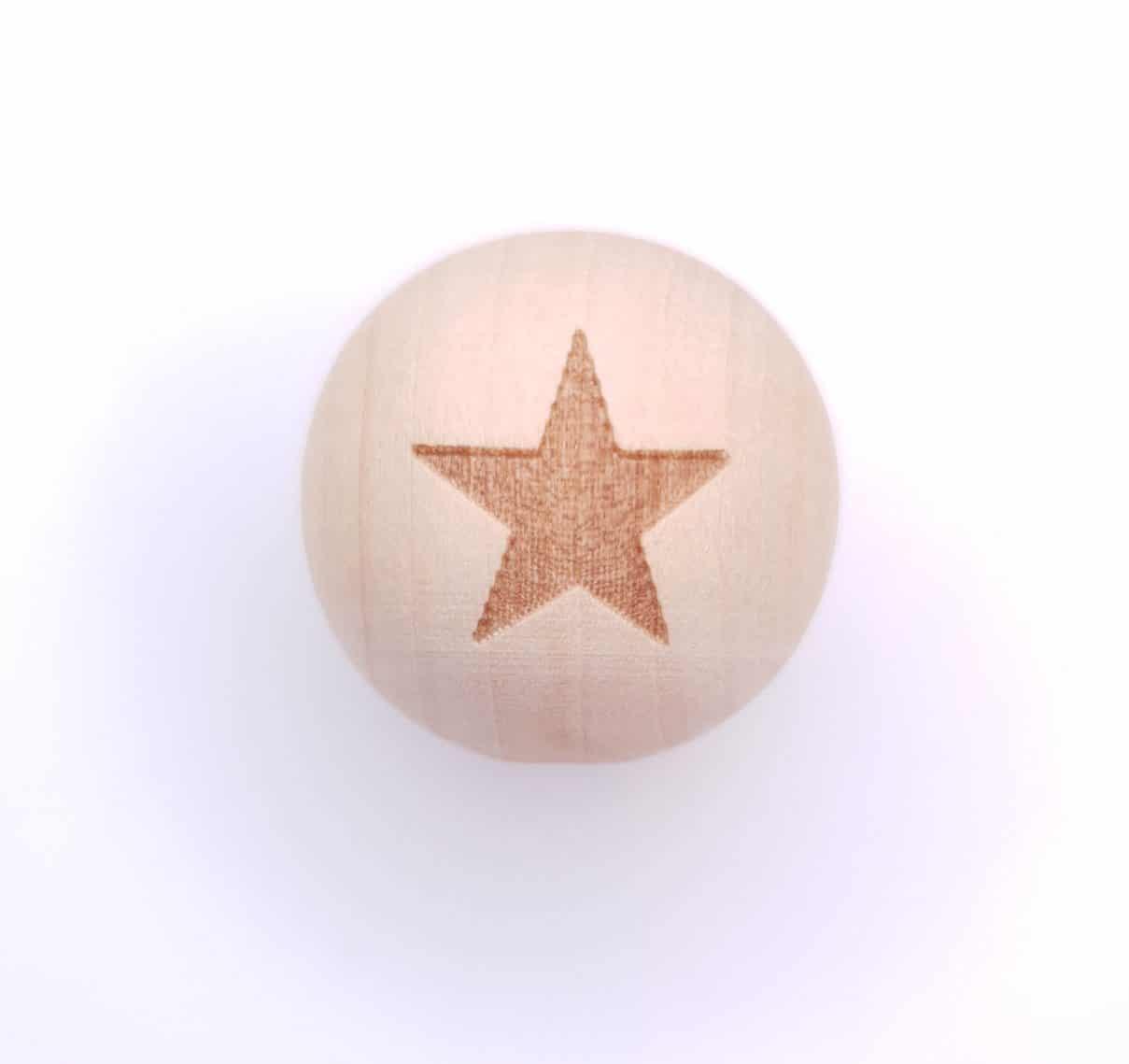 Houten kraal 20 mm gegraveerd ster