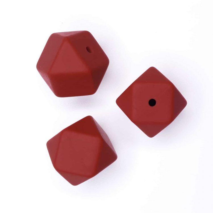 Siliconen kralen Hexagon 17 mm Roest Rood