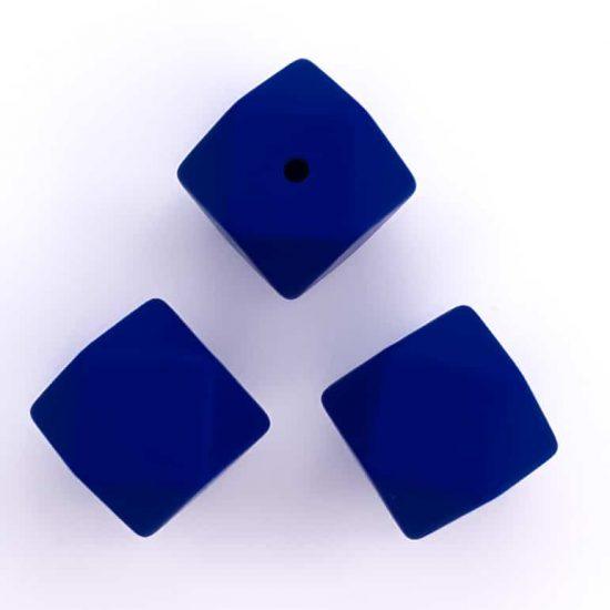 Siliconen kralen navy blauw 17 mm hexagon
