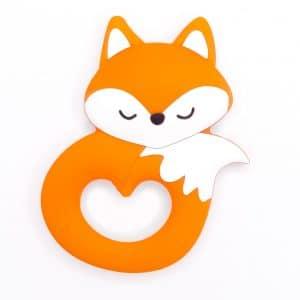 Siliconen bijtring vos oranje slapend