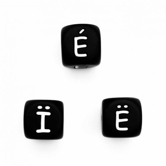 Siliconen letterkralen Ë, É en Ï zwart 12 mm