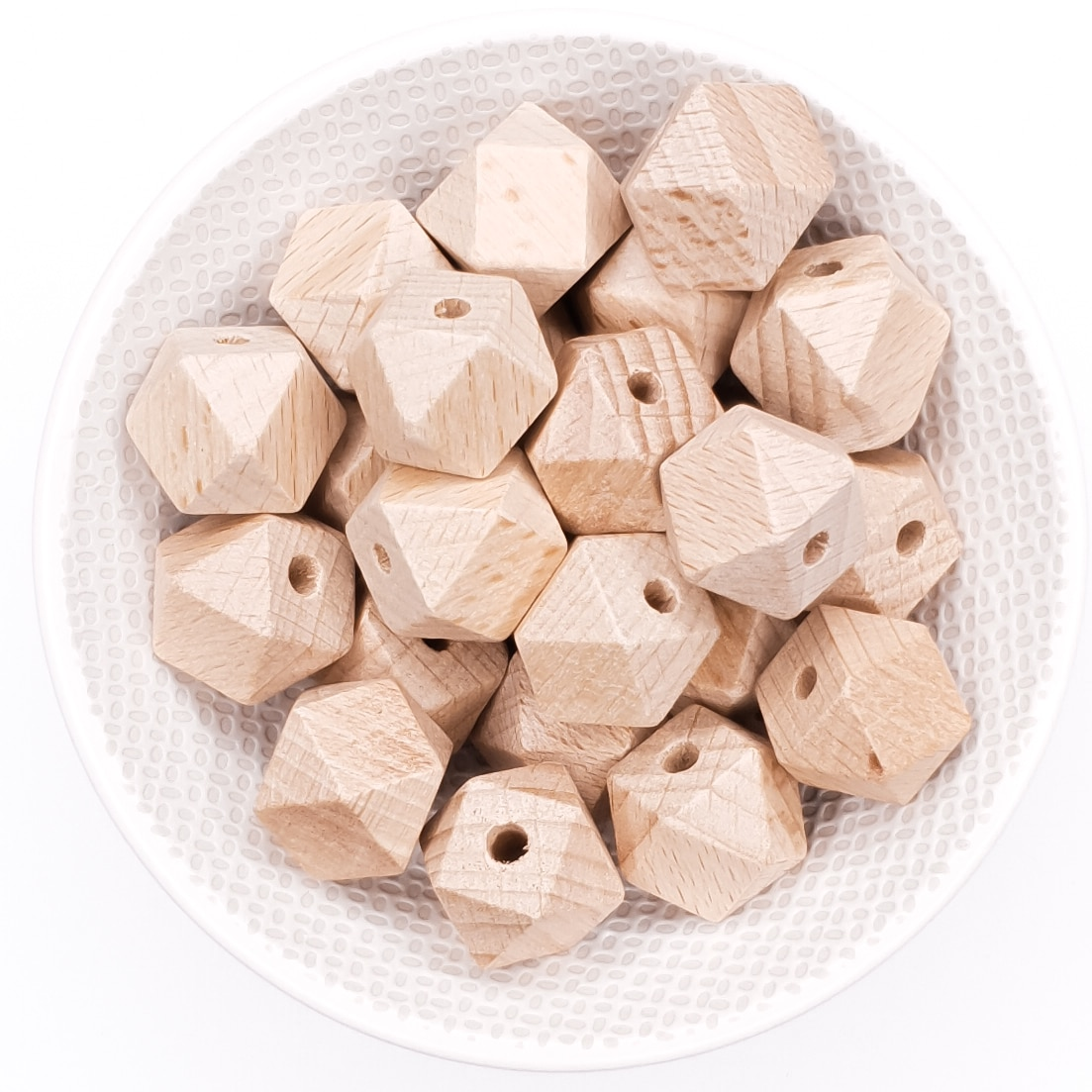 Beukenhout kraal hexagon 16 mm baby bijtring