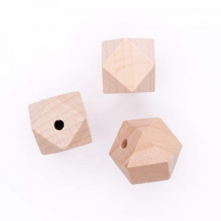 Beukenhouten kralen 16 mm hexagon bijtspeelgoed CE NEN certificering veilig baby wagenspanner bijtring