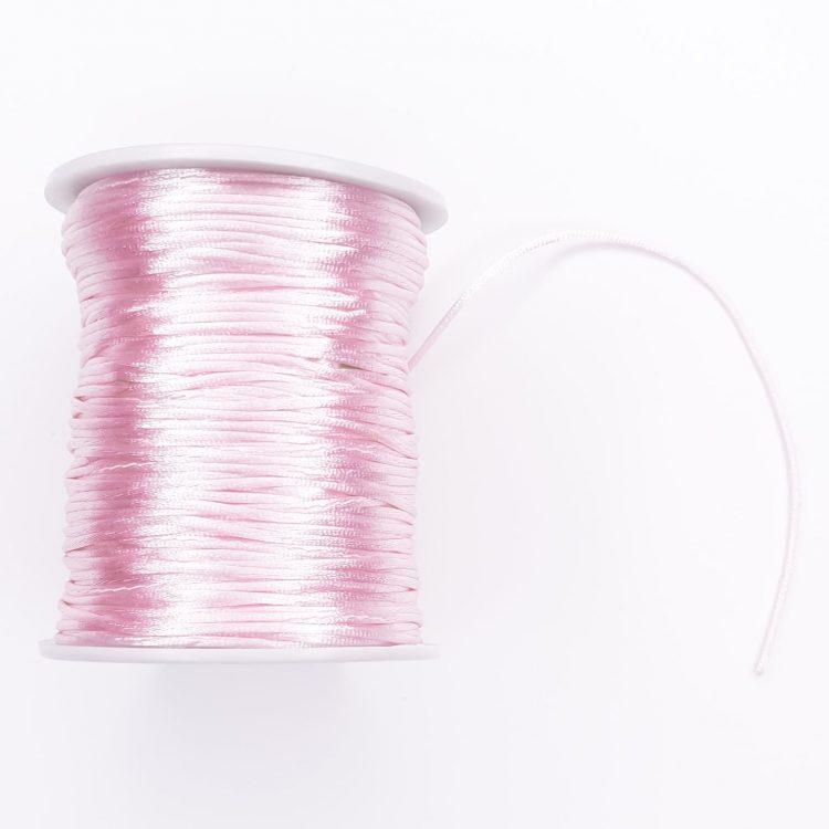 Satijnkoord 1,5 mm licht roze speenkoord bijtring wagenspanner