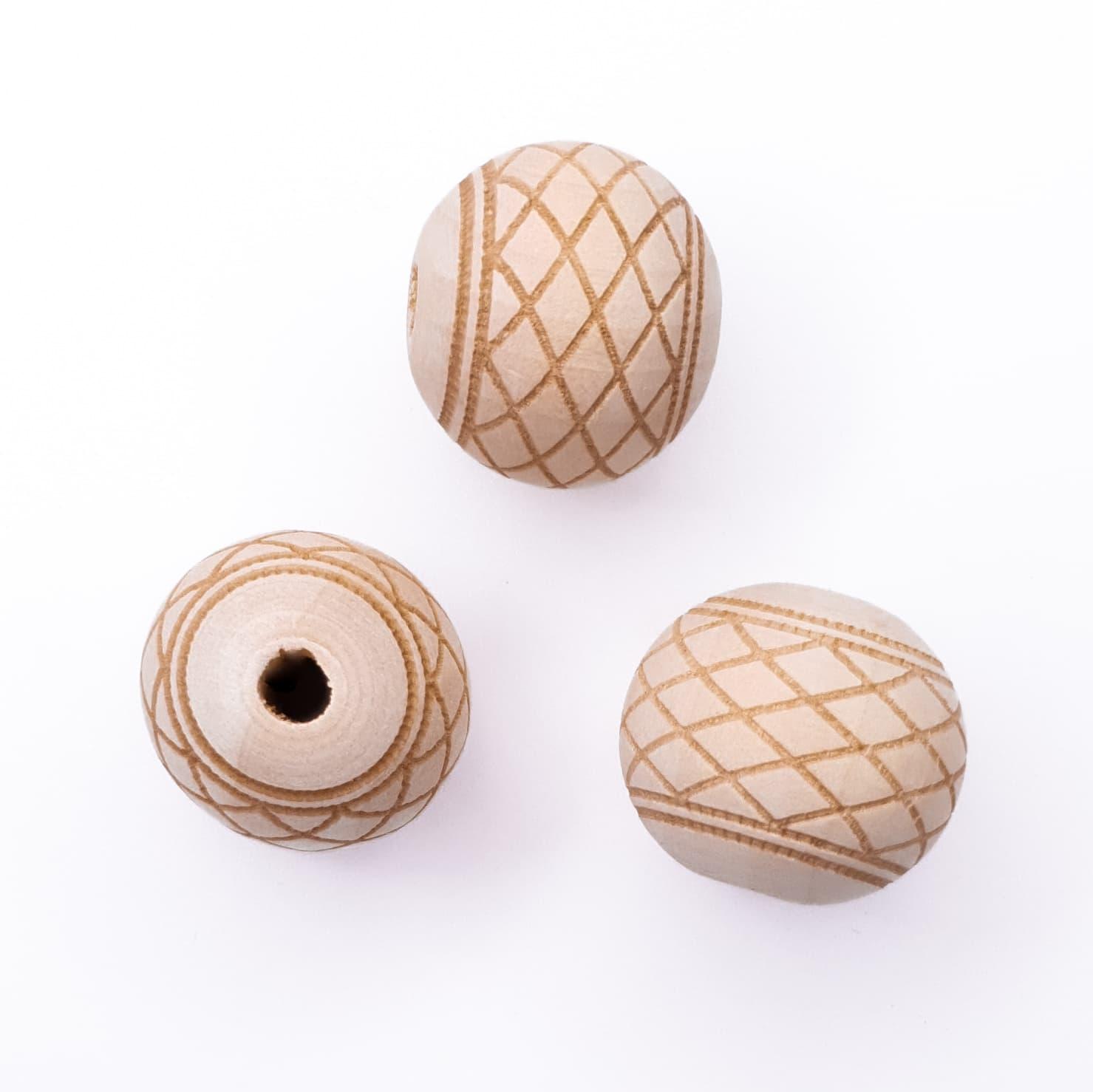 Houten kraal gegraveerd raster 20 mm bijtring speenkoord