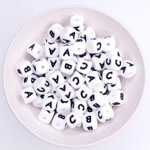 Siliconen letterkralen 10 mm voor meer letters en langere namen speenkoord 22 cm