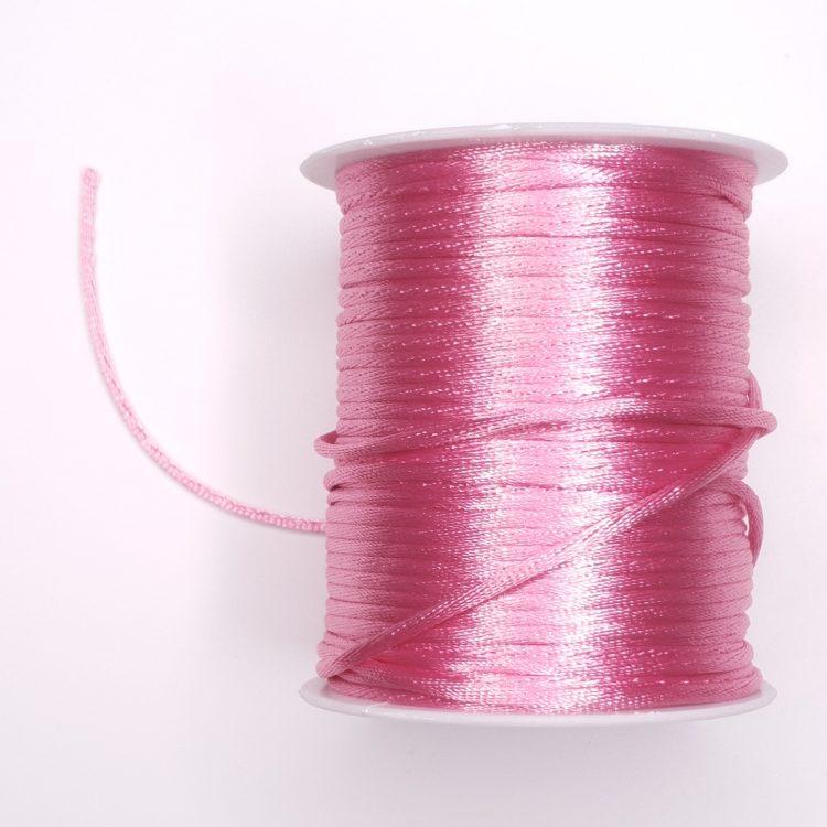 Satijnkoord 2 mm roze bijtring speenkoord wagenspanner sleutelhanger wagenhanger