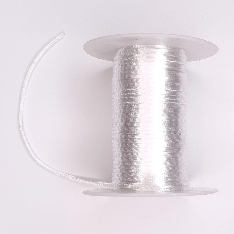 Satijnkoord 2 mm wit bijtring speenkoord wagenspanner sleutelhanger wagenhanger