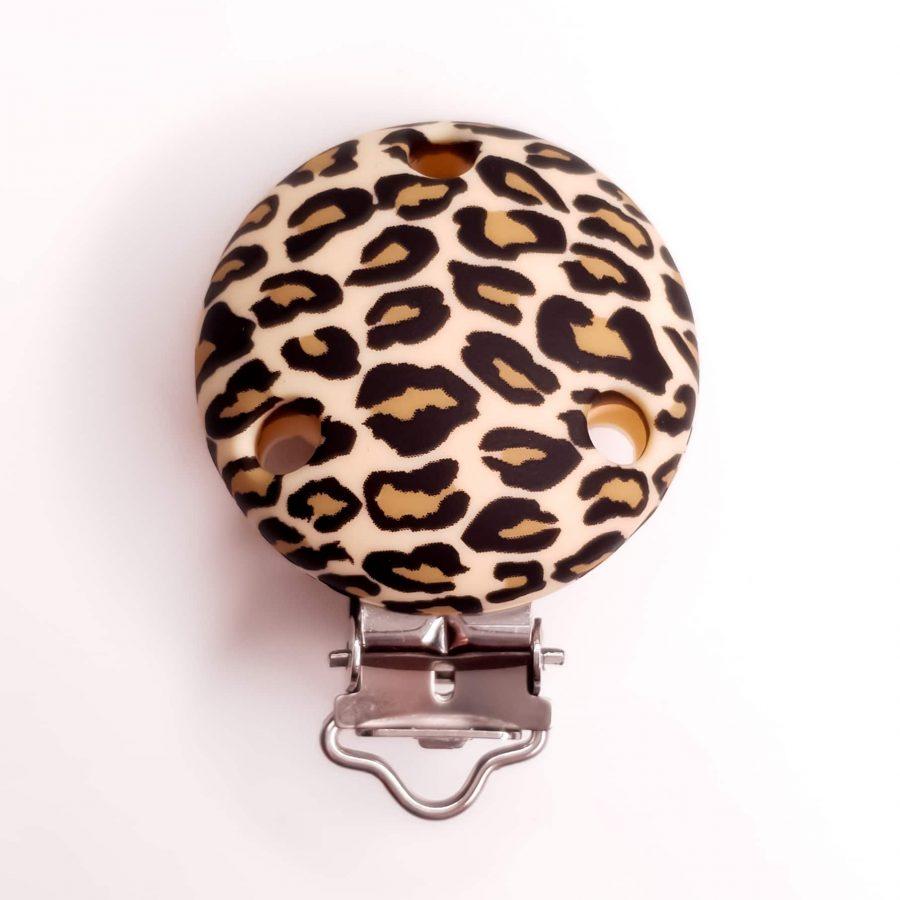 Siliconen speenclip luipaard beige / bruin luipaard kralen bpa vrij