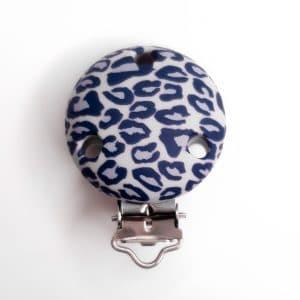Siliconen speenclips blauw grijs bpa vrij luipaardkralen kindveilig