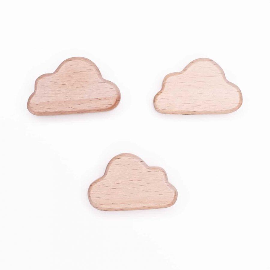 Houten kralen wolk mini bijtfiguur wolk