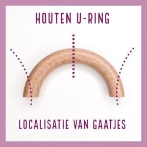 Houten U-ring localisatie van de gaatjes