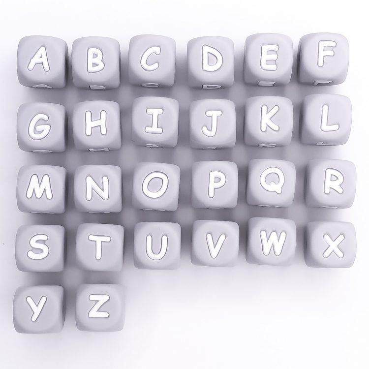 Letterkralen siliconen licht grijs